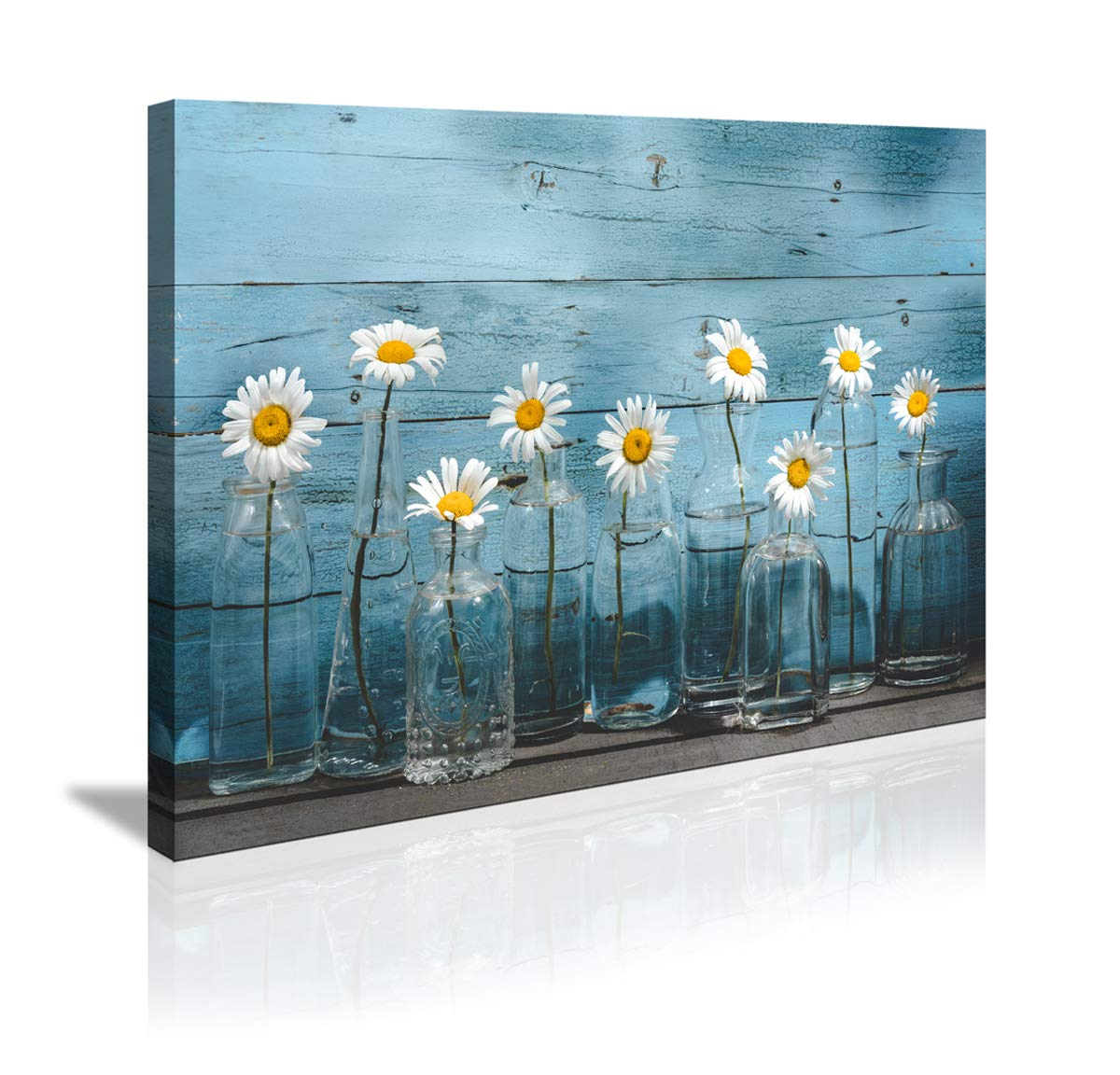 Canvas Wall Art for Home Bathroom Bedroom Office Decoration 1 Panel Vintage Flower Blue Wooden Board Modern Floral Canvas Artwork Daisy Flower Vase Picture Giclee Print on Wall Decor Ready to Hang