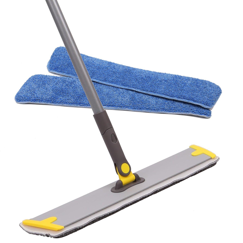 "18""Microfiber Mop,Hardwood Laminate Floor Flat Mop,3 Refillable Wet Microfiber Mop Pad, Hardwood Floor,Stone,Tile & Laminate Floor Cleaner 18""Microfiber Mop"