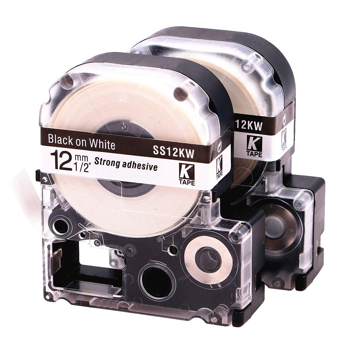 LK LC Label Tape Cartridge Compatible Epson Labelworks LW-300 LW-400 LW-500 LW-600p label printers, Black On White LC-4WBN9 (LK-4WBN), 1/2'' (12mm) x 30ft (9m) - 2 Pack