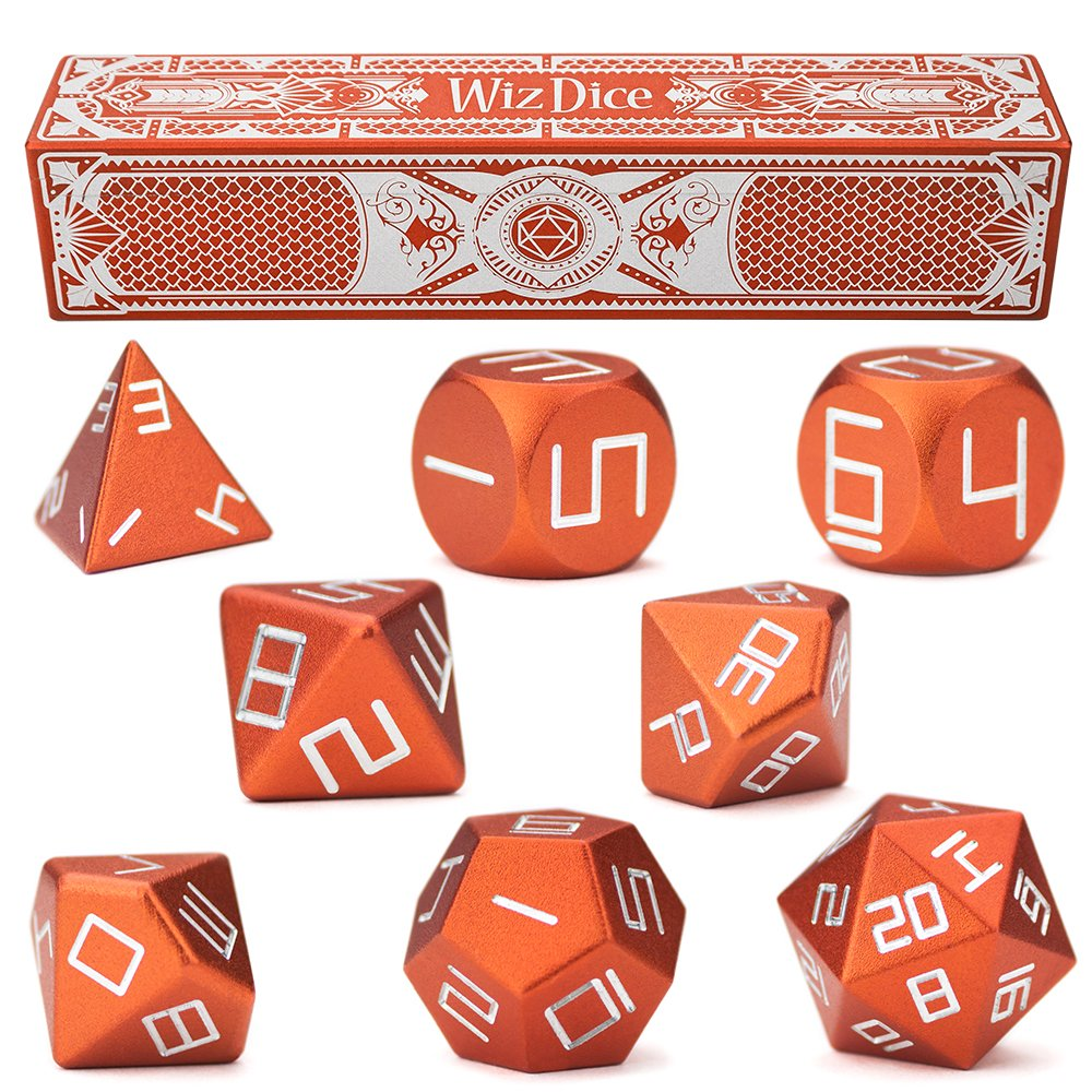 Wiz Dice Set of 8 Masterwork Precision Aluminum Polyhedrals with Laser-Etched Strongbox by Choose from 8 Anodized Colors (Sunburst)