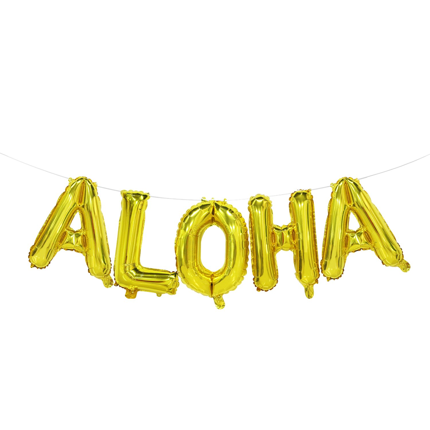 Beach Party Gold Aloha Balloons 16inch Mosoan Hawaii Party Aloha Sign for Summer Party Tropical Party Pool Party Aloha Decorations for Party