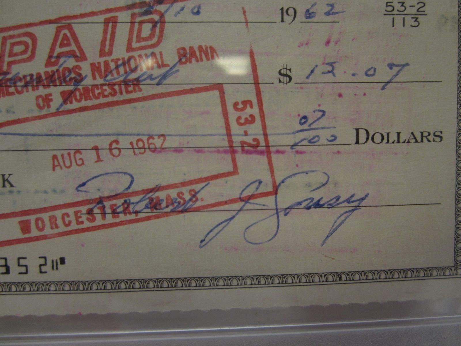 Bob Cousy Boston Celtics Autographed Signed Canceled Check 1962 Authetnic Autograph PSA/DNA
