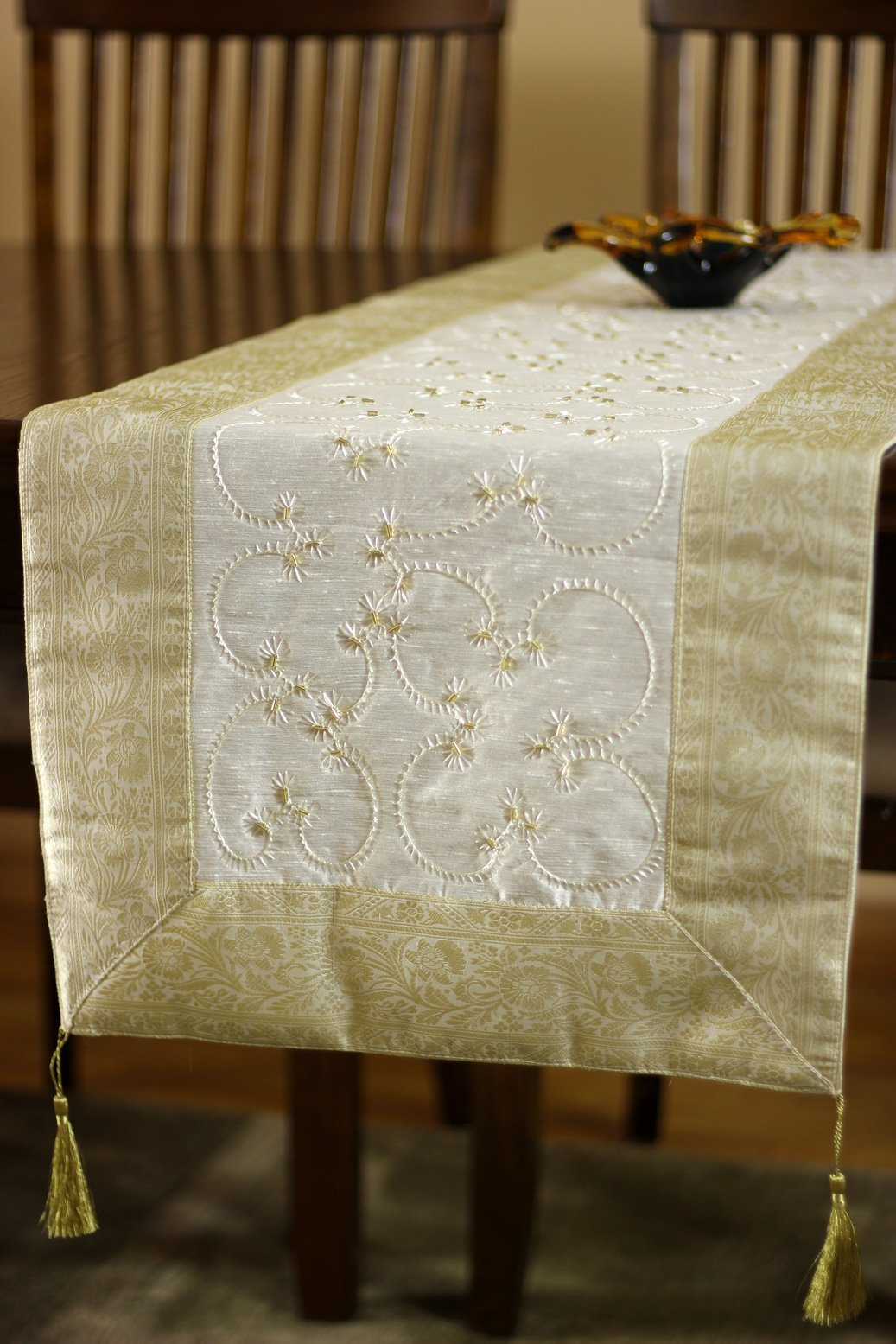 Hand Embroidered Table Runner (Beige, 72'' X 17'')