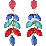 TEMPUS FUGIT. Pendientes para mujer largos Antialérgicos Floral, Fiesta, Moda, Chapados en Oro con cristales de colores…