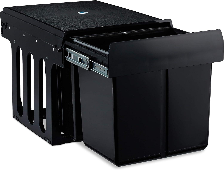 schwarz 3 offene F/ächer HBT: 35,5 x 40 x 30 cm 1 St/ück f/ür Arbeitszimmer /& B/üro Relaxdays Rollcontainer MDF B/üroschrank