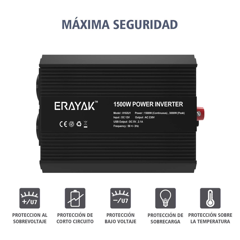 300W~600W ERAYAK Inversor de Corriente 12v 220v con Puerto USB con 2 AC Tomas y Encendedor Convertidor Onda Sinusoidal para Autom/óviles 2000W//1500W//1000W//600W//300W//150W