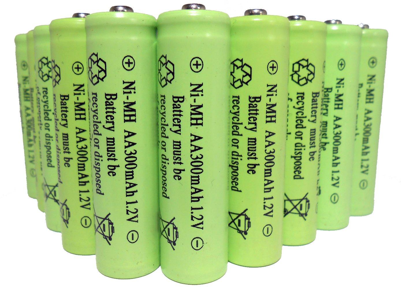 10-Pack NiMH AA 300mAh 1.2Volt Rechargeable Batteries