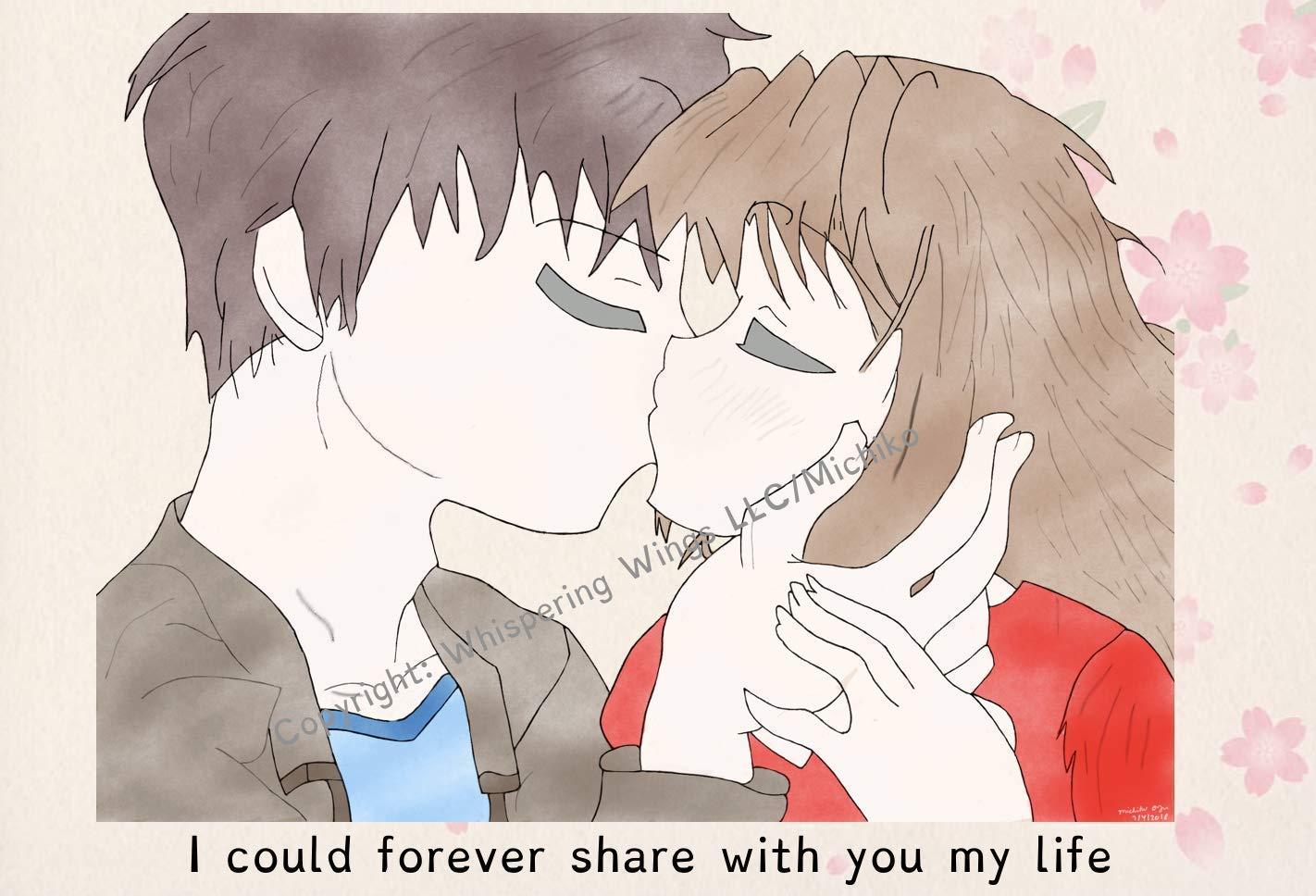 Amazon Com Anime Couple Kissing Love Birthday Valentine S Day Hand Drawn Original Poetry Greeting Card Handmade