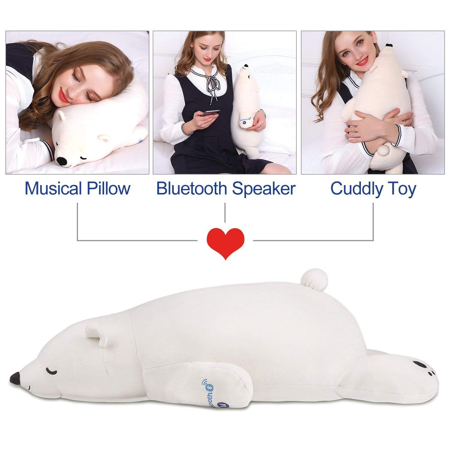 Ophanie Stuffed Animal Polar Bear Plush Toy Musical Plush Pillow with Bluetooth Speaker; Unique Birthday Gifts for Kids Girls Boys