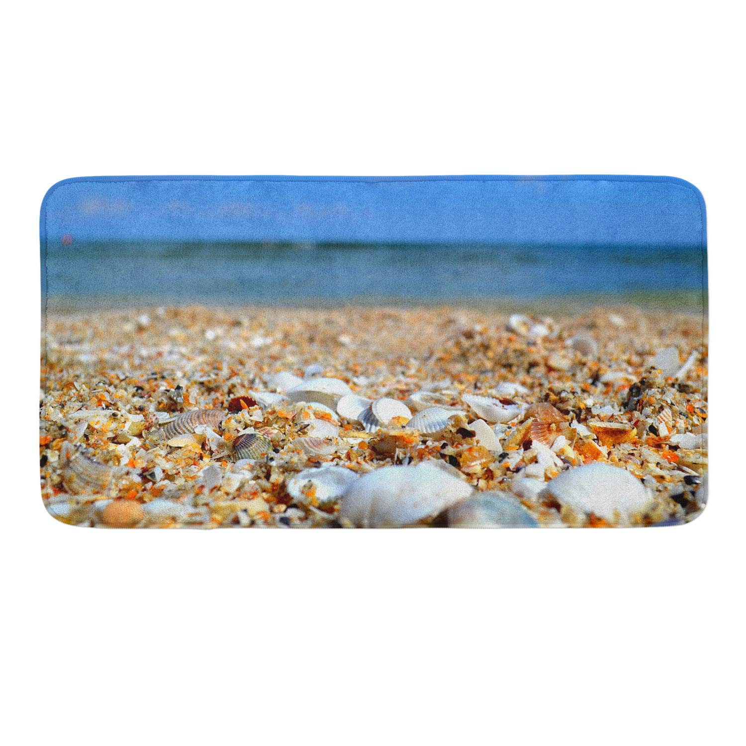 CIGOCI Non-Slip Memory Foam Bath Rugs, 3D Print Starfish Conch Seashell - 18 x 36 Inch, Extra Absorbent,Soft,Duarable and Quick-Dry Shaggy Rugs