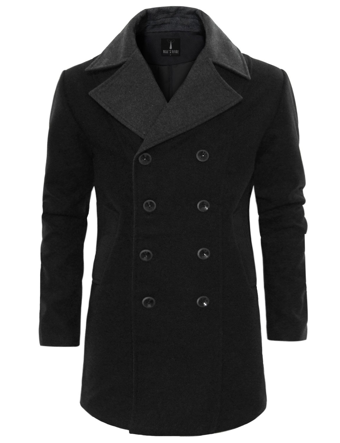 Tom's Ware Men's Trendy Double Breasted Trench Coat TWCC12-BLACK-US M by Tom's Ware