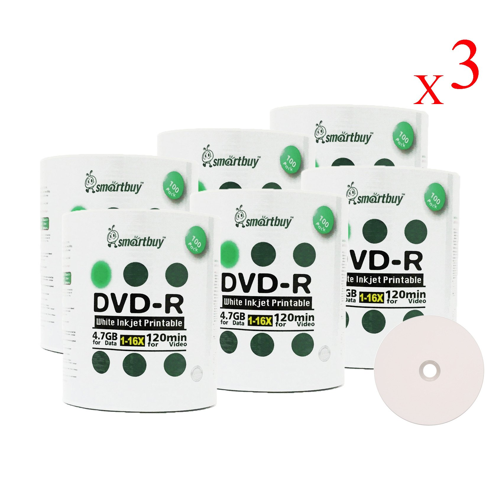 Smartbuy 1800-disc 4.7gb/120min 16x DVD-R White Inkjet Hub Printable Blank Data Recordable Media Disc by Smartbuy