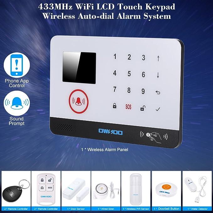 OWSOO Sistema de Alarma 433MHz WiFi Inalámbrico con Sensor de Agua y Puerta Panel Teclado Pantalla LCD Sirena Kit App Móvil Control Remoto Alarma de ...