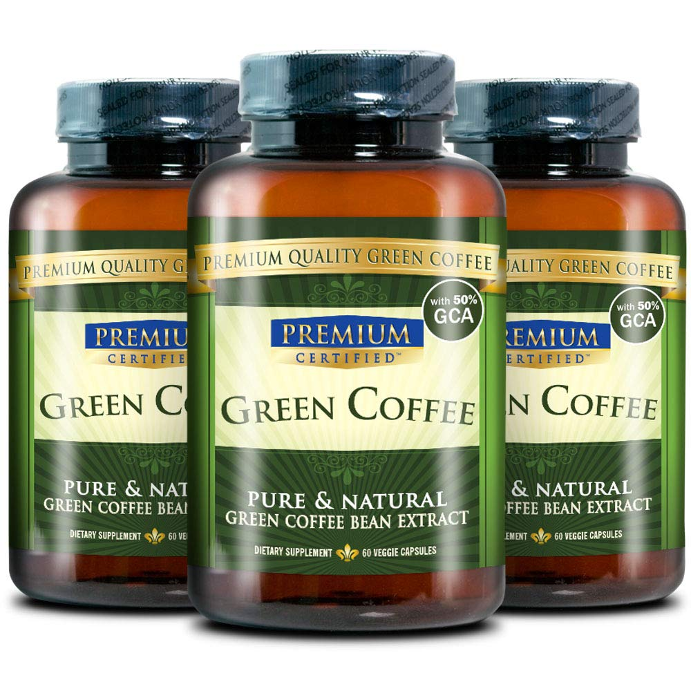 100% Pure Green Coffee Bean Premium Extract - 50% Chlorogenic Acid - Natural Weight Loss, Antioxidant and Metabolism Booster - 180 Vegetarian Capsules by Green Coffee Premium