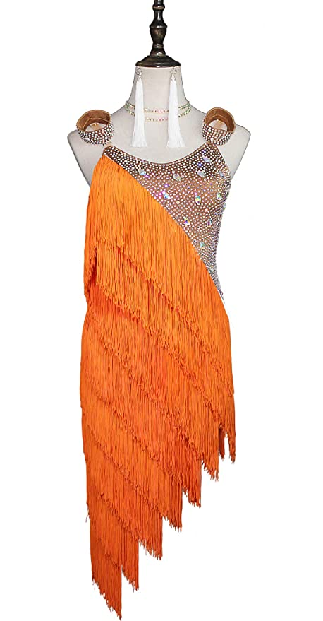 7622ff748cdb Amazon.com : Limiles Women Rhinestone Fringe Latin Dresses Girls  Competition Tassel Dance Performance Costume : Sports & Outdoors