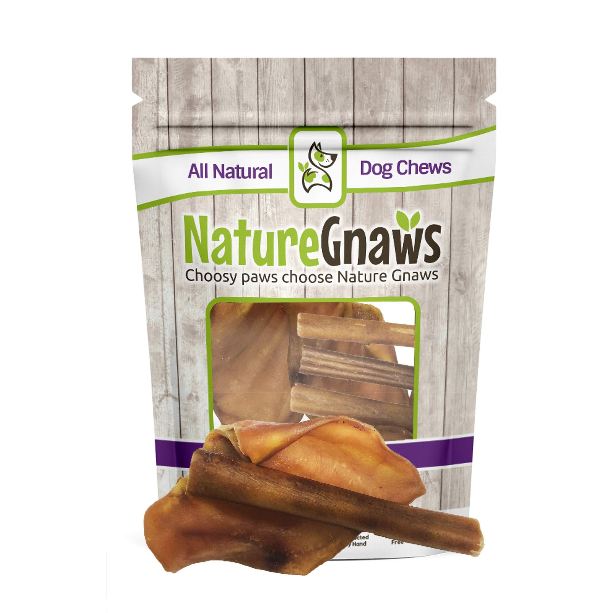 Nature Gnaws Pig Ears & Bully Sticks Combo (12 Count) - 100% Natural Dog Chew Treats