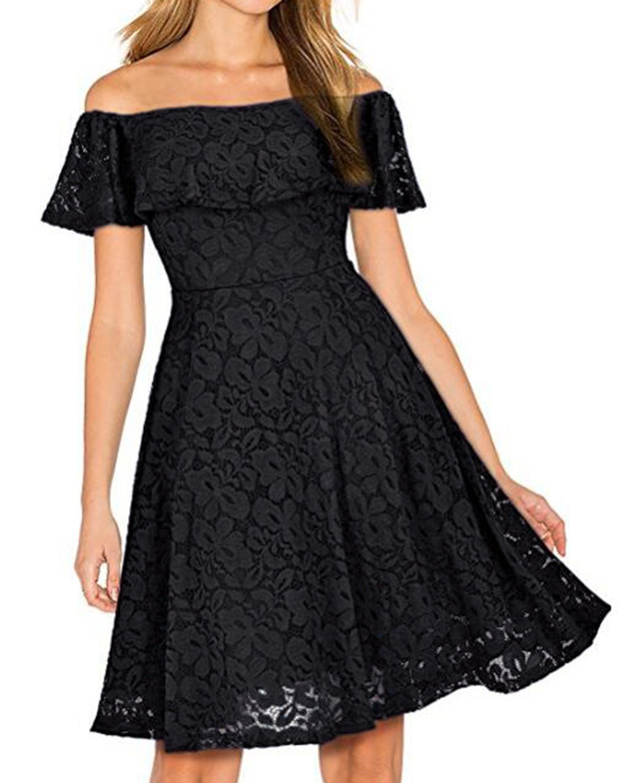 Kidsform Women's Off Shoulder Lace Dress Vintage Floral Cocktail Party Wedding Dresses Black M