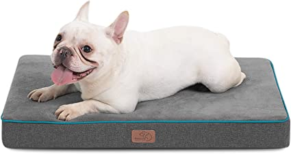 Bedsure Waterproof Dog Bed with Removable Washable Cover and Waterproof Liner Grey Ideal for Cars Dog Crate or Kennel Plush Fleece Top with Nonskid Oxford Bottom Dog Mat
