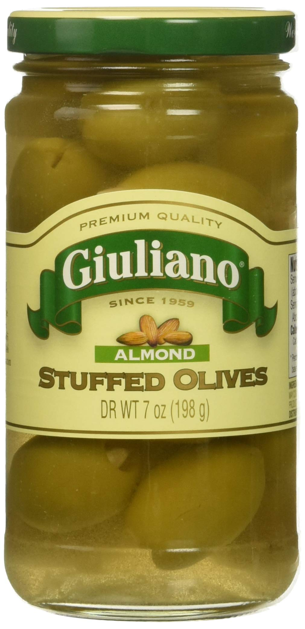 Giuliano Almond Stuffed Olives, 7 Ounce (Pack of 6) by Giulianos