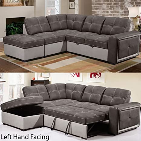 Quinto - Sofá esquinero con sofá cama de tela gris/piel gris ...
