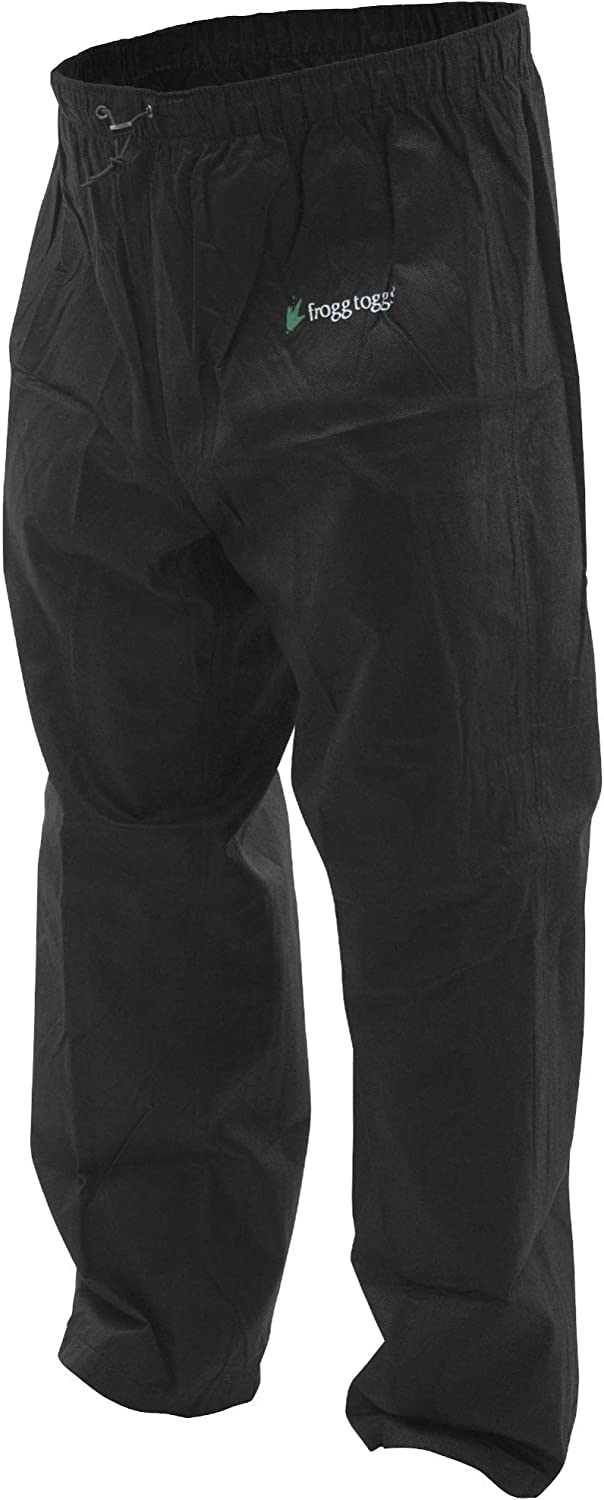 Image of a black rain pants with product tag on the upper left front side.