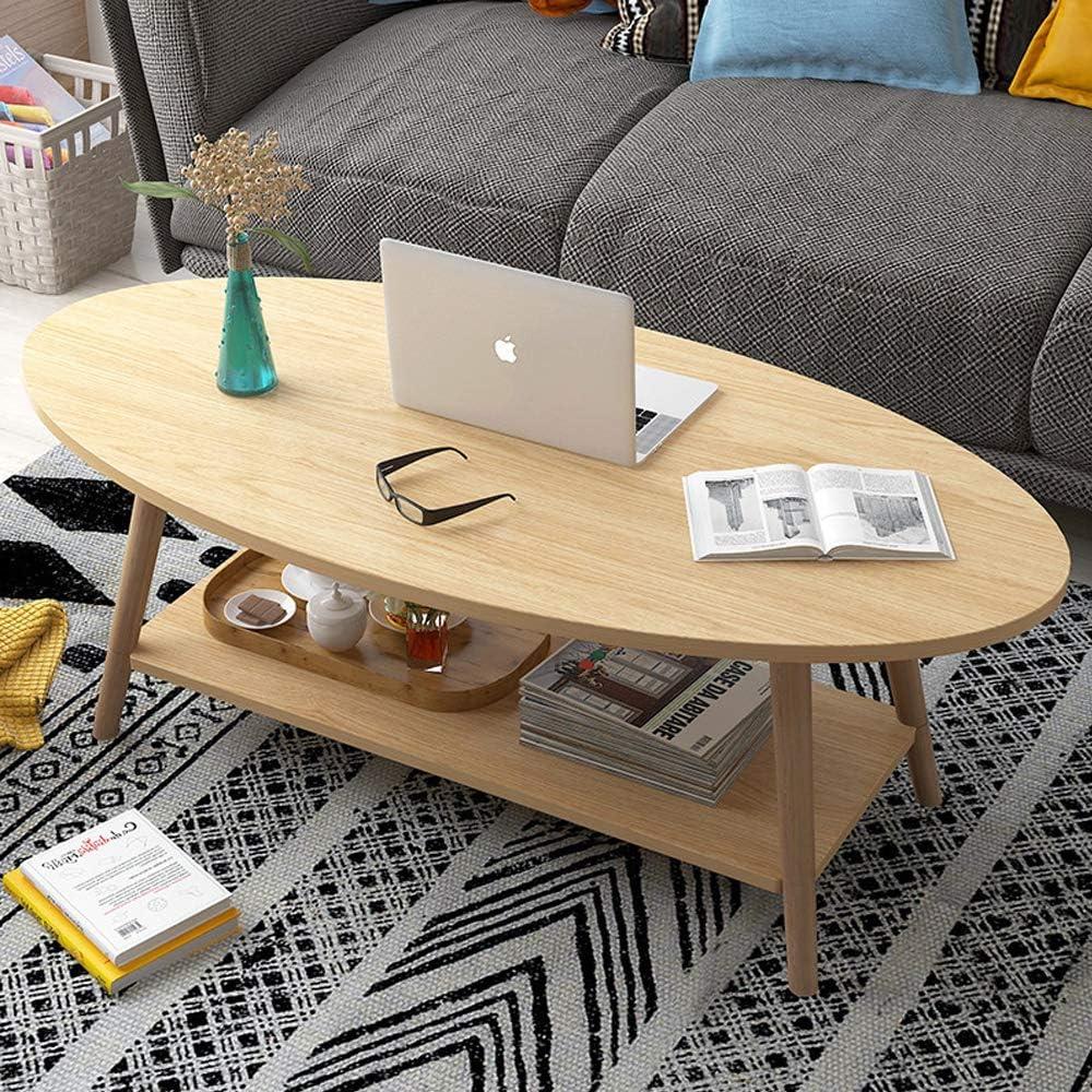 KaminHome - Mesa Centro salón Marcus Ovalada con Auxiliar balda de Madera diseño nórdico escandinava Moderno para hogar Oficina área Descanso Patas Madera (Roble, 100 cm x 50 cm x 42 cm)
