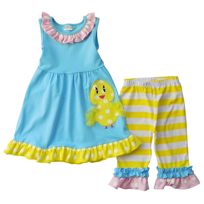 Girls Easter Chick Tank Top Ruffle Capri Set Aqua/Yellow 3T