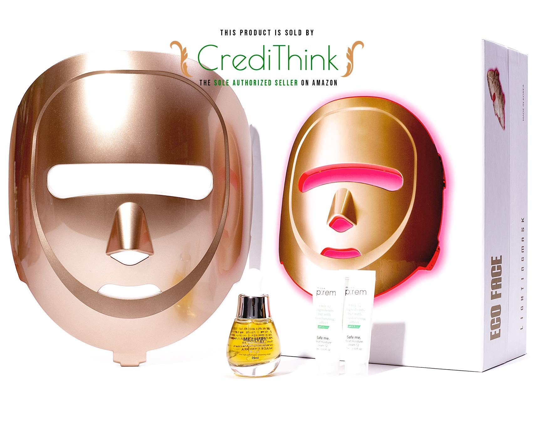 ECO FACE Near-infrared LED Photon Mask for Home Therapy - GOLDEN | 120 LED lights (60 Near-infrared & 60 Visible) | Electric Skin Rejuvenation | Clinically Tested & Being Used at Skincare Clinics