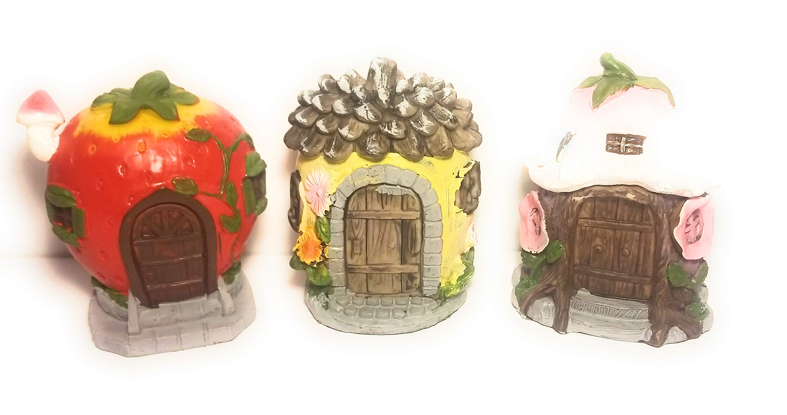 mmh Set of Three 3 Vibrant Miniature Garden Figurine Beautiful Houses with Bonus Figurine Mini Gnomes ONE for Each House Great for Garden and Home Decorating Collect Them All Complete Set