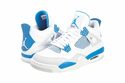 cheaper 5104c d42d9 Image Unavailable. Image not available for. Color  Nike Mens Air Jordan 4  Retro  quot Military quot  White Military Blue ...