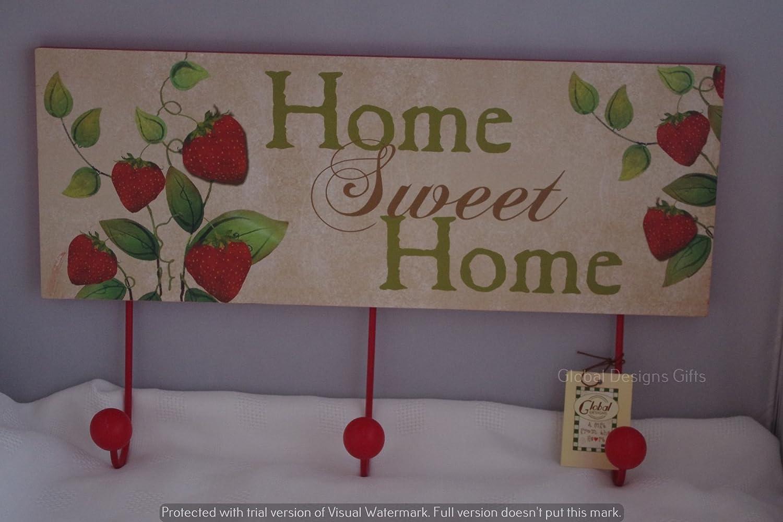 Global Designs Gancio appendiabiti fragola fragole Home Sweet Home ganci appendiabiti SG1294