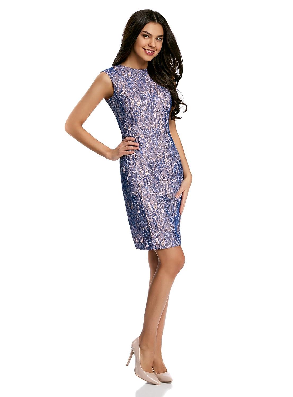 oodji Ultra Mujer Vestido de Encaje con Escote en la Espalda, Azul, ES 44 / XL: Amazon.es: Ropa y accesorios