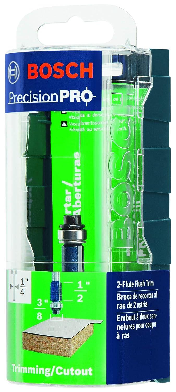 Bosch-Carbide Tip 3//8 x 1 Flush Trim with Ball Bearing Double Flute 1//4 Shank