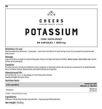 Suplemento de potasio por Cheers - Citrato de potasio altamente absorbible - 90 Cápsulas veganas (780 mg): Amazon.es: Salud y cuidado personal