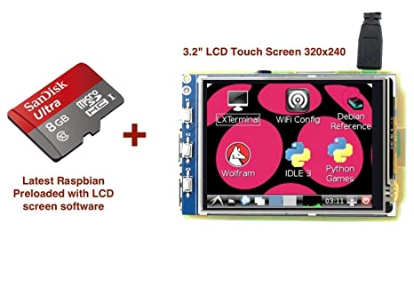 "5/""HDMI LCD 800×480 High Resolution for RSBPi 3 with 8GB MicroSD with Raspbian A"