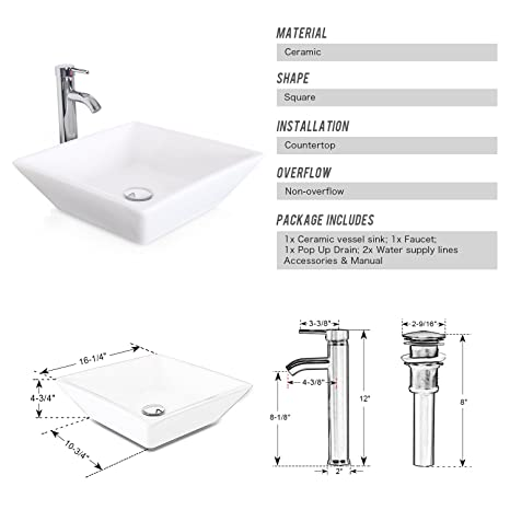 1.5 GPM Counter Top White Square Porcelain Ceramic Sink Bowl White Square  Bathroom Vessel Sink Combo With Chrome Solid Brass Faucet And Pop Up Drain  For ...