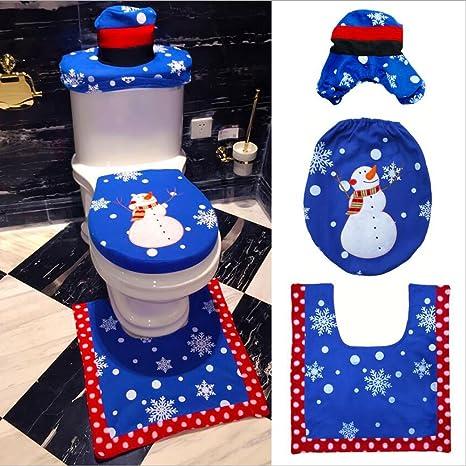 Set Bagno Babbo Natale.Haichen 3pcs Babbo Natale Copriwater Copertura E Tappeto Bagno Set