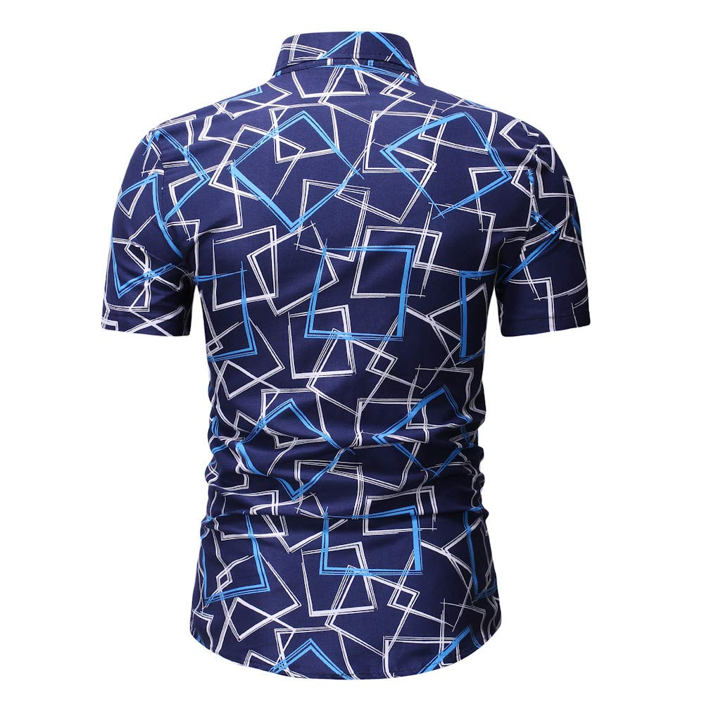 Palarn Mens Fashion Sports Shirts Mens New Pattern Casual Fashion Printing Lapel Camouflage Short Sleeve Shirt