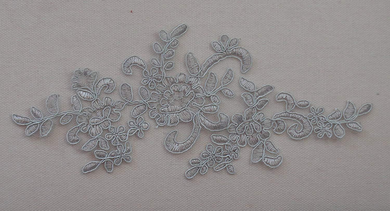 gris 22,5 cm x 9,5 cm por pieza **Freee UK p/&p** pedido de env/ío r/ápido** Vestido costura floral encaje aplique bordado tulle encaje dise/ño varios colores opci/ón aprox