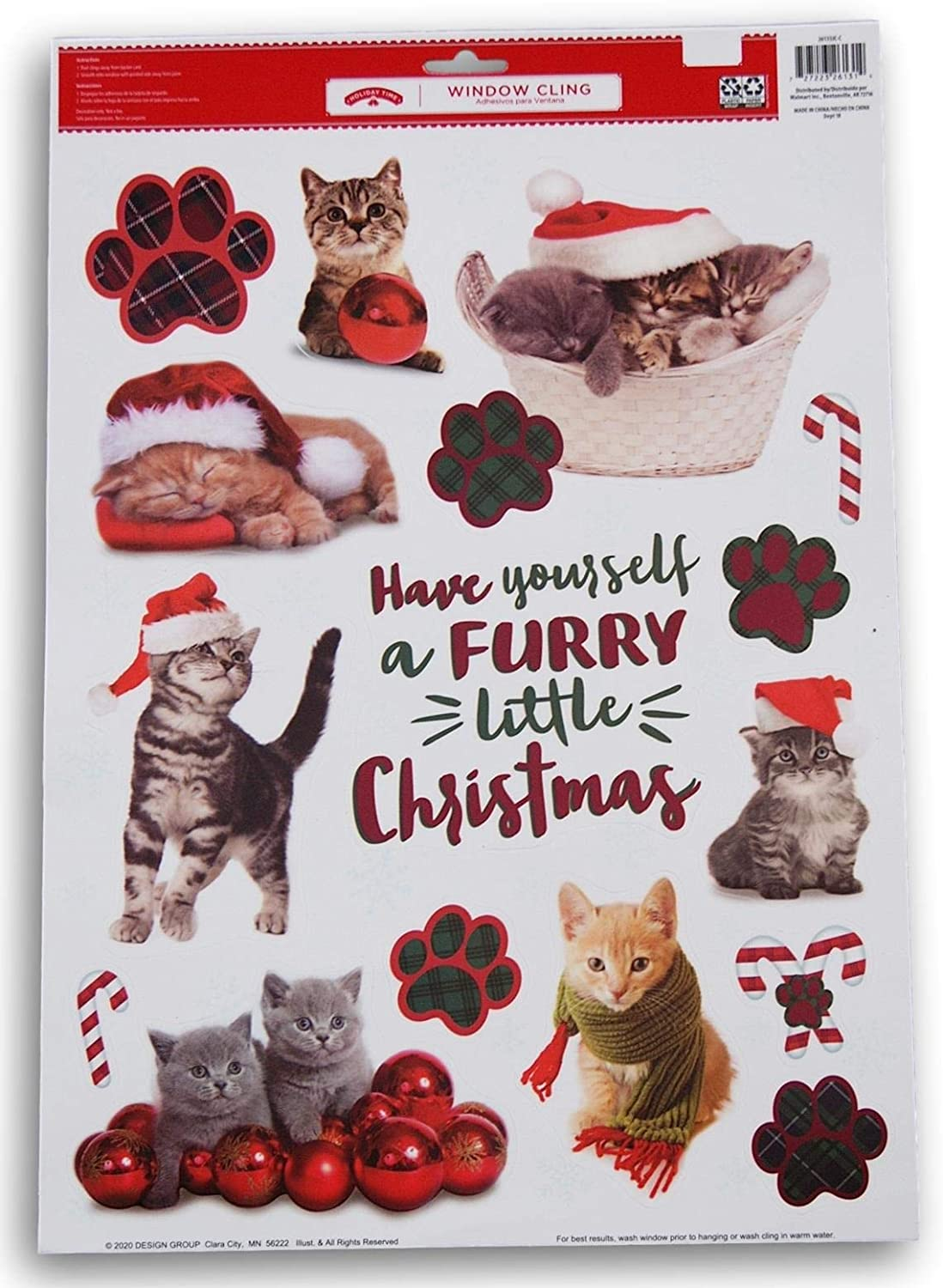''Have Yourself a Furry Little Christmas'' Cats and Kittens Window Clings - 15 Piece