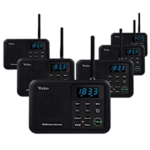 Wuloo Intercoms Wireless for Home 1 Mile Range 22 Channel 100 Digital Code Display Screen, Wireless Intercom System for Home House Business Office, Room to Room Intercom Communication (6 Packs, Black)