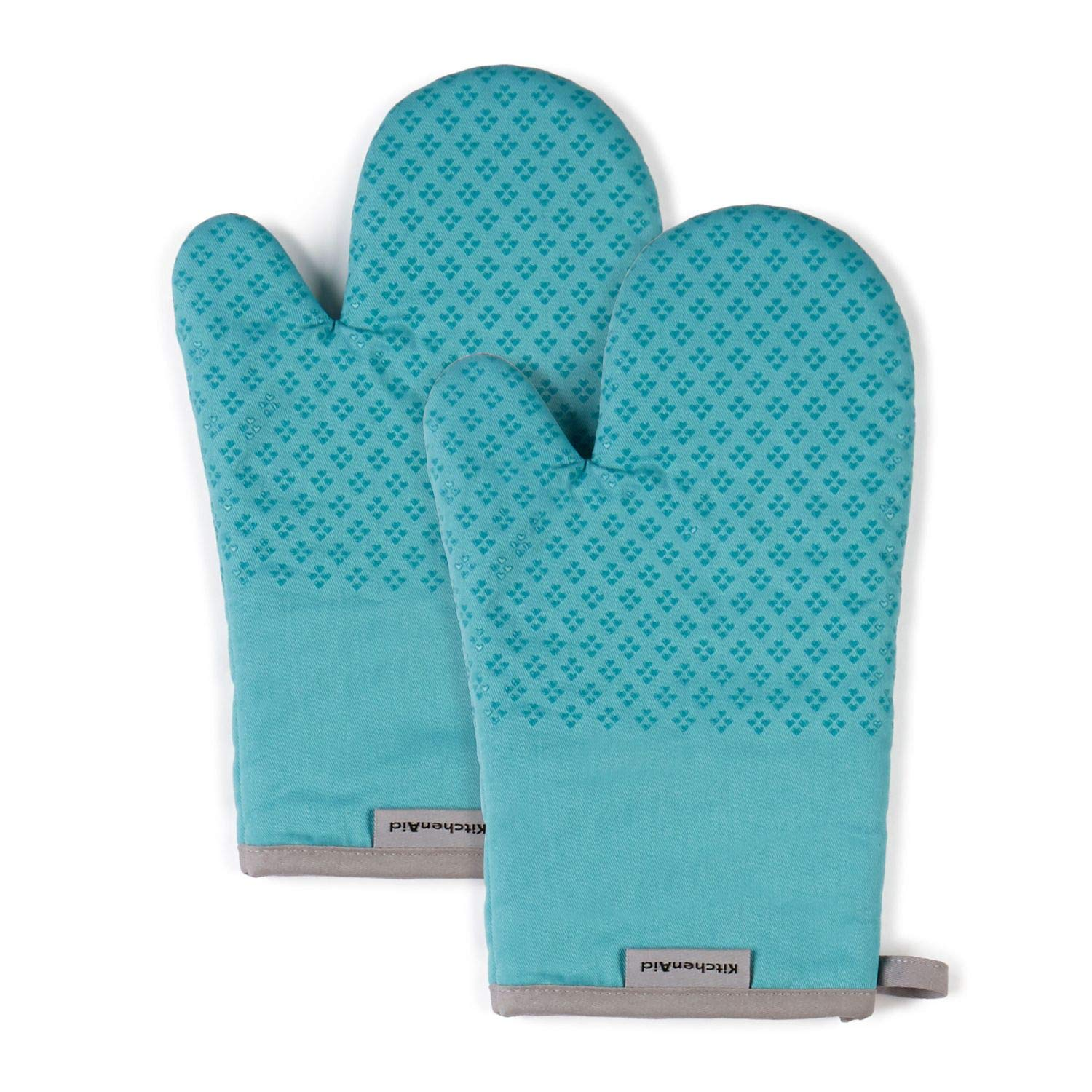 KitchenAid Asteroid Cotton Oven Mitts with Silicone Grip, Set of 2, Aqua