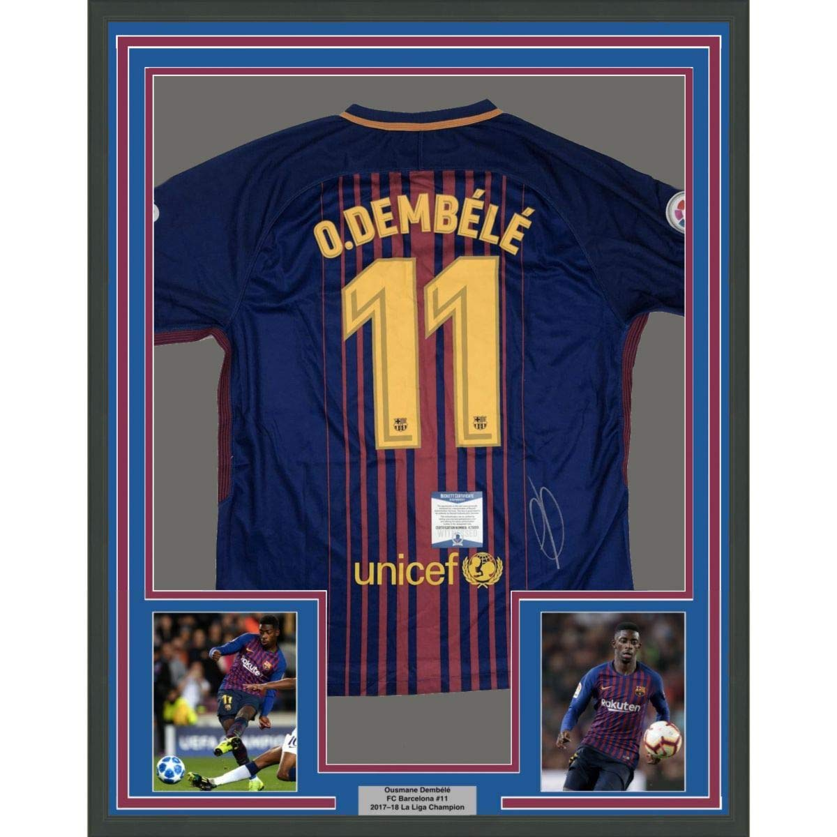 812c14f4a Framed Autographed/Signed Ousmane Dembele 33x42 FC Barcelona Blue Soccer  Jersey Beckett BAS COA #2 at Amazon's Sports Collectibles Store