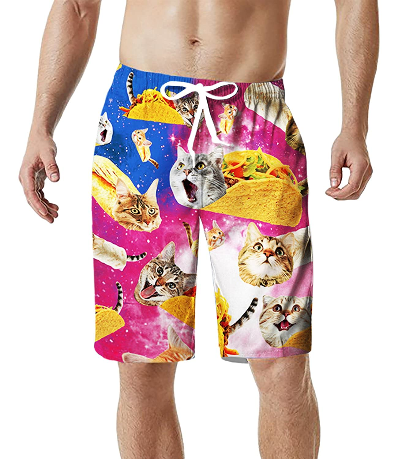 TUONROAD Mens Swimming Trunks 3D Print Pineapple Cat Shark Funny Pattern Swim Shorts Quick Drying Holiday Beach Shorts Lightweight Swimwear Surf Board Shorts with Mesh Lining S XXL