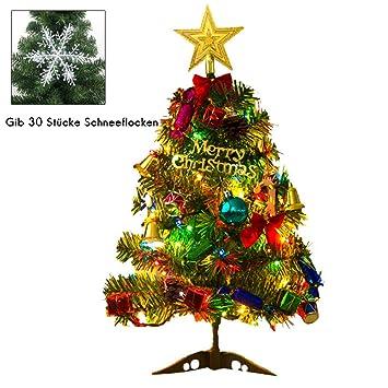 Weihnachtsbaum Tannenbaum.Eiseyen Künstlicher Weihnachtsbaum Tannenbaum Christbaum 50cm Grün Weihnachtsbaum Klein Mit Beleuchtung Multicolor Led Und Weihnachtsschmuck Mit