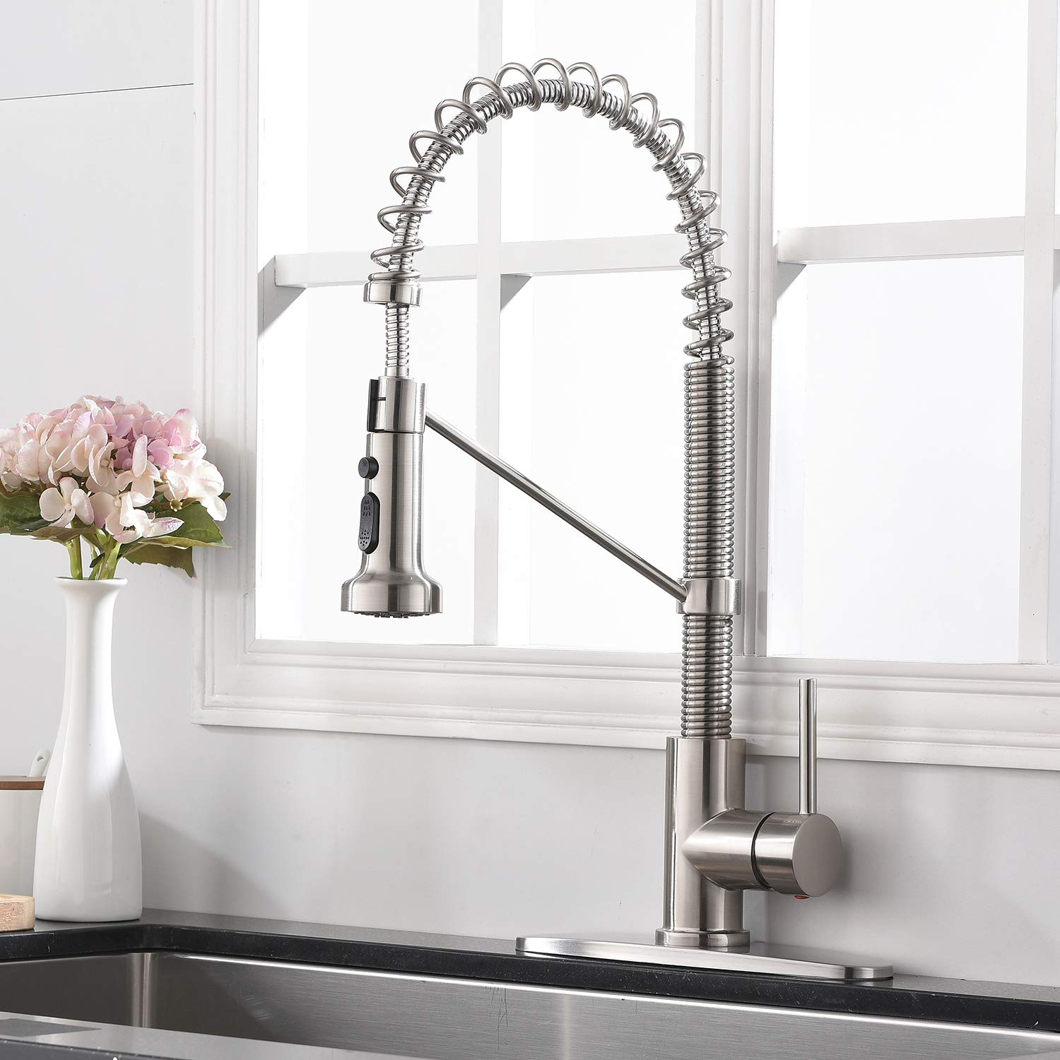 Ufaucet Modern Commercial Lead Free Stainless Steel Single Handle Pull Down Sprayer Spring Kitchen Faucet, Brushed Nickel Kitchen Sink Faucet with Deck Plate