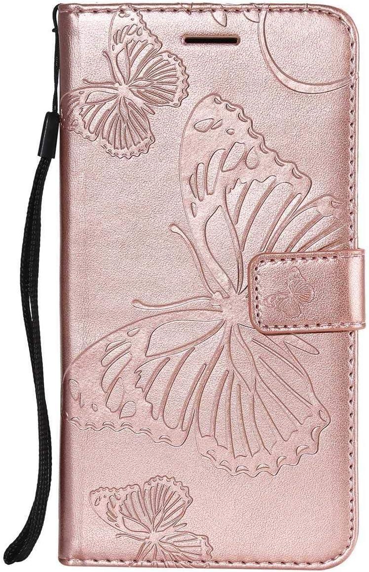 Sangrl Libro Funda para Xiaomi Redmi 5 Plus, Premium PU Leather Case Lindo Diseño de Patrón en Relieve de Mariposa Flip Case Rose Gold