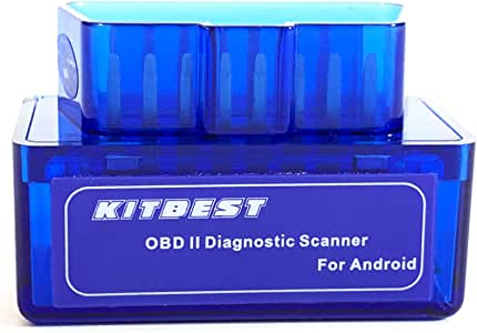 Kitbest Bluetooth OBD2 Scanner Mini OBD Car Diagnostic Code Reader for Android & Windows, Check Engine Light Scan Reader. Supports Torque Pro & Lite, OBD Fusion, DashCommand