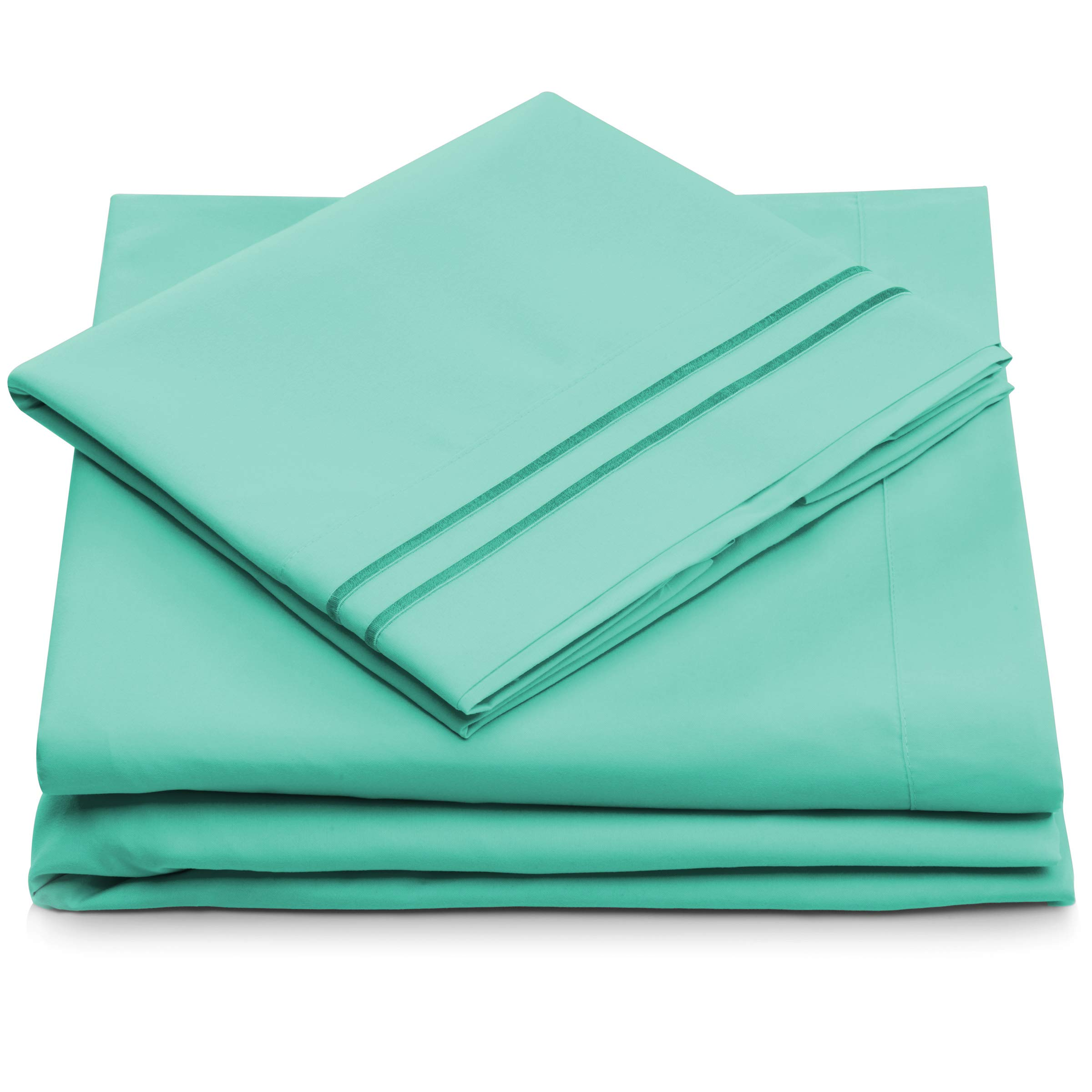 Queen Size Bed Sheets - Pastel Green Luxury Sheet Set - Deep Pocket - Super Soft Hotel Bedding - Cool & Wrinkle Free - 1 Fitted, 1 Flat, 2 Pillow Cases - Mint Queen Sheets - 4 Piece