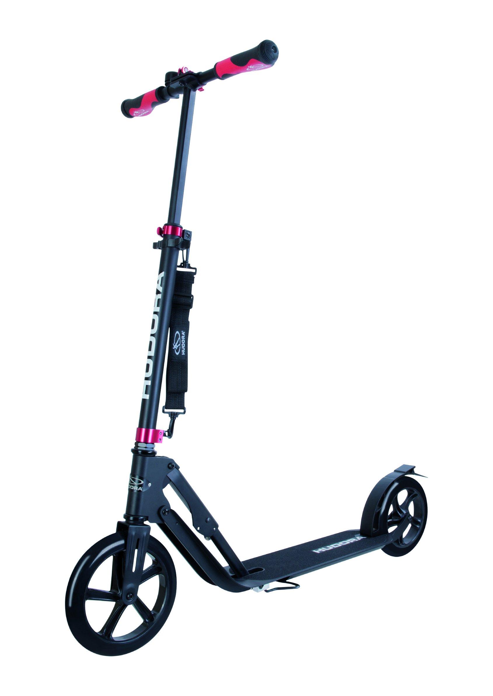 HUDORA 230 Adult Scooters Foldable Adjustable Kick Scooter Aluminum Outdoor use (Black)